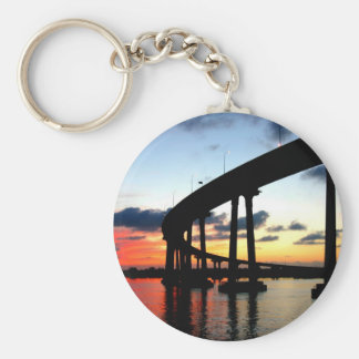 San Diego Bridge Sunset Basic Round Button Key Ring