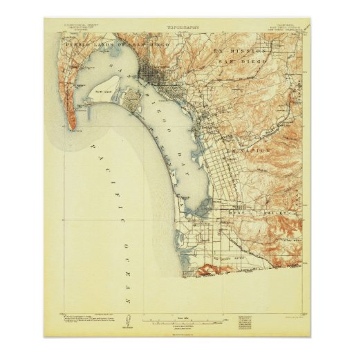 San Diego, CA--1904 Map Poster