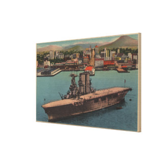San Diego, CA - View U.S. Navy Aircraft Carrier Canvas Print