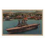 San Diego, CA - View U.S. Navy Aircraft Carrier Poster