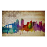 San Diego, CA | Watercolor City Skyline Poster