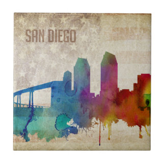 San Diego, CA | Watercolor City Skyline Tile
