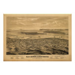 San Diego California 1876 Antique Panoramic Map Poster