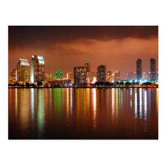 San Diego California at Night Postcard