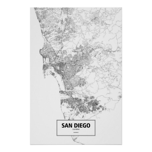 San Diego, California (black on white) Poster