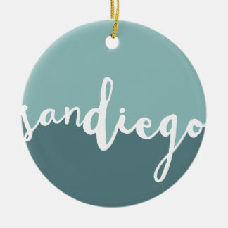 San Diego, California | Blue Calligraphy Ombre Christmas Ornament
