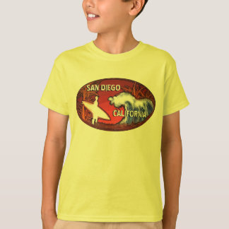 San Diego California boys yellow surfer art tee
