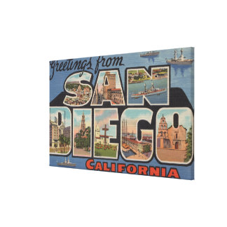San Diego, California - Large Letter Scenes 2 Stretched Canvas Prints