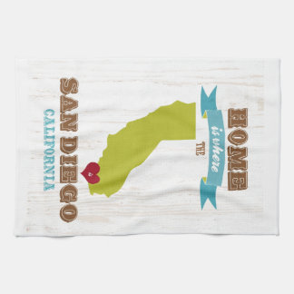 San Diego, California Map – Home Is Where The Hear Tea Towel