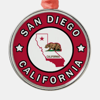 San Diego California Silver-Colored Round Decoration
