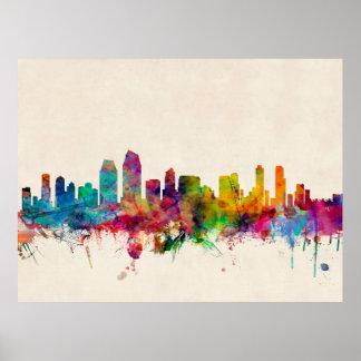 San Diego California Skyline Poster