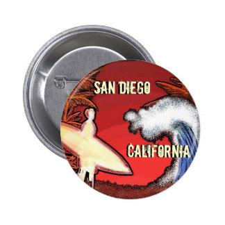 San Diego California surfer waves art button