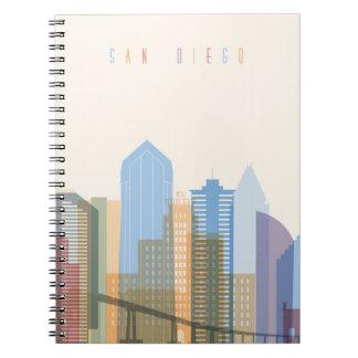 San Diego City Skyline Spiral Notebook