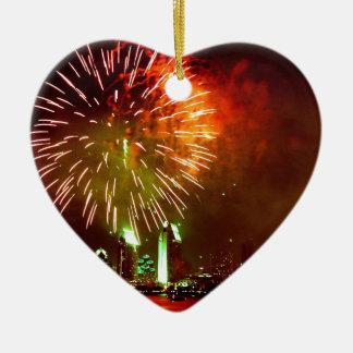 San Diego fireworks Ceramic Heart Decoration