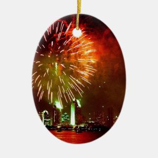 San Diego fireworks Ceramic Oval Decoration
