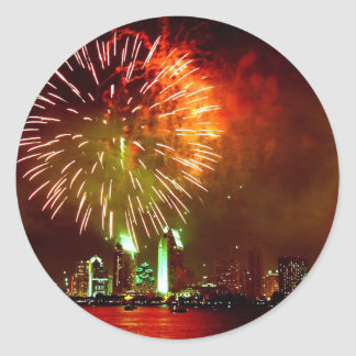 San Diego fireworks Classic Round Sticker