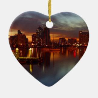 San Diego harbor 2 Ceramic Heart Decoration