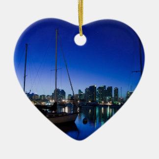 San Diego harbor Ceramic Heart Decoration