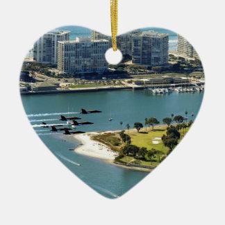 San Diego hornets Ceramic Heart Decoration