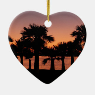 San Diego palms Ceramic Heart Decoration