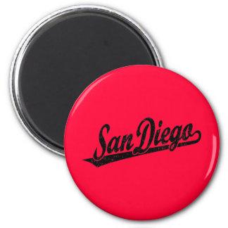 San Diego script logo in black distressed 6 Cm Round Magnet
