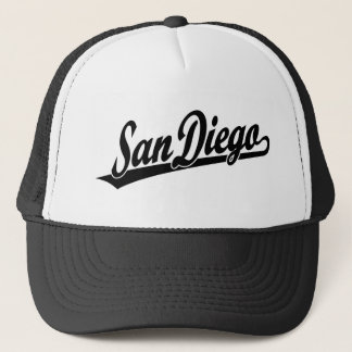 San Diego script logo in black Trucker Hat