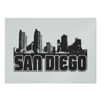 San Diego Skyline 13 Cm X 18 Cm Invitation Card