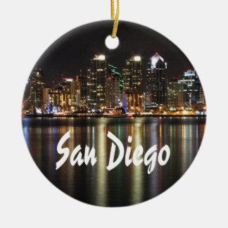 San Diego Skyline at night Christmas Ornament