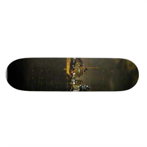 San Diego Skyline Buildings Water Sailboats Nightt Skate Board