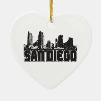 San Diego Skyline Ceramic Heart Decoration