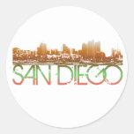 San Diego Skyline Design Round Sticker