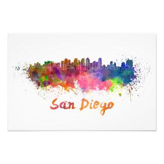 San Diego skyline in watercolor Art Photo