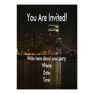 San Diego Skyline Night Magnetic Invitations
