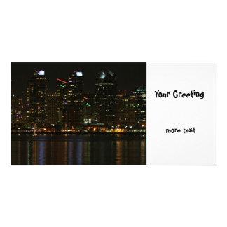 San Diego Skyline Night Picture Card