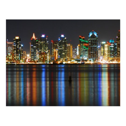 San Diego Skyline @ Night Postcard