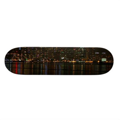San Diego Skyline Night Skate Board Deck