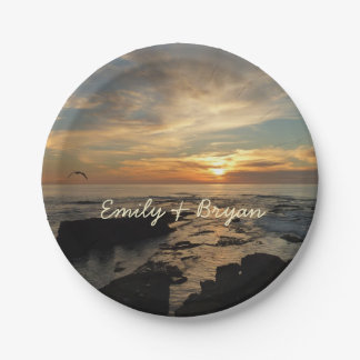 San Diego Sunset I California Seascape Paper Plate