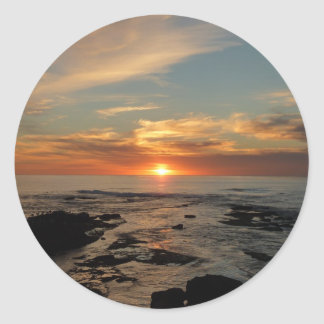San Diego Sunset II California Seascape Classic Round Sticker