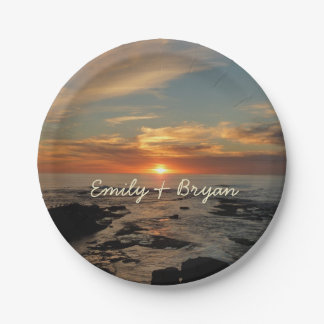 San Diego Sunset II California Seascape Paper Plate