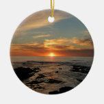 San Diego Sunset II California Seascape Round Ceramic Decoration