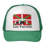 San Fermin bull run in Pamplona and Basque flag, Cap