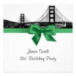 San Fran Skyline Etched BW Dark Jade SQ Birthday Invitations