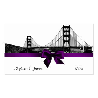 San Fran Skyline Etched BW Purple Place Cards #2 Pack Of Standard Business Cards