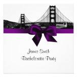 San Fran Skyline Etched BW Purple SQ Bachelorette Personalized Announcement