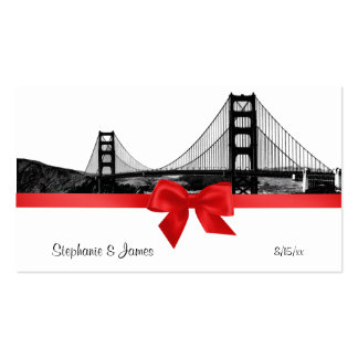 San Fran Skyline Etched BW Red Place Cards #2 Pack Of Standard Business Cards
