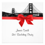 San Fran Skyline Etched BW Red SQ Birthday Party Personalized Announcement