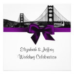 San Fran Skyline Etched BW SQ Purple Wedding Personalised Announcement