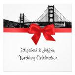 San Fran Skyline Etched BW SQ Red Wedding Invite