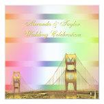 San Fran Skyline Gold Pastel Rainbow SQ Wedding Custom Invitation