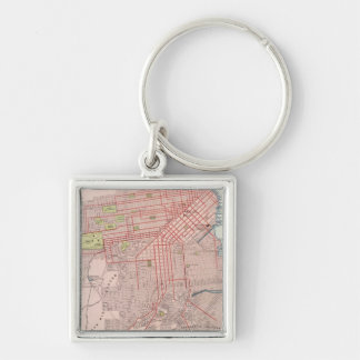 San Francisco 7 Silver-Colored Square Key Ring